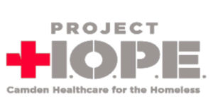 Project HOPE logo with Camden Healthcare for the Homeless text